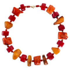 Marina J. Coral, Amber and 14K Yellow Gold Necklace