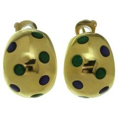 Van Cleef & Arpels Blue & Green Enamel Yellow Gold Earrings