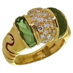 Bulgari Ganci Diamond Peridot Yellow Gold Ring