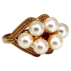 Natural Akoya Cream Cluster Vintage Pearl Ring