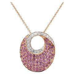 Le Vian Rose Gold Pink Sapphire & Diamond Pave Dangle Drop Necklace