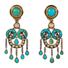 Antique French Gold, Turquoise, and Old Mine Cut Diamond Fringe Earrings