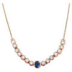 Curved Diamond Bar Necklace w Sapphire Half Bezels in 14k Yellow Gold Choker