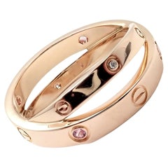 Cartier Love Diamond Pink Sapphire Rose Gold Band Ring