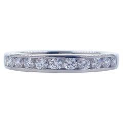 Tiffany & Co Channel Set Round Diamond Half Circle Wedding Band Platinum #1