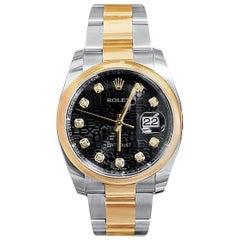 Rolex DateJust Jubilee Black Dial Two-Tone Rose Gold Diamond Hour Markers