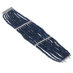 Blue Sapphire Beads Bracelet in 18 Karat White Gold