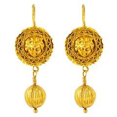 Handcrafted 24K Gold Genuine Antique Medusa Mask Dangling Ball Earrings