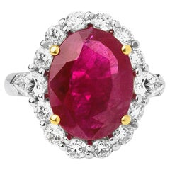 5.40 Carats Natural Ruby Solitaire Ring Surrounded with 1.55 Ct's Diamonds