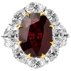 5.23 Carats Natural Africa Ruby with 4.16 Ct's Diamonds Solitaire Ring
