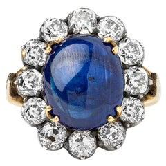 15.91 Ct's Ceylon Sapphire 5.20 Diamonds Art Deco Style Certified Solitaire Ring