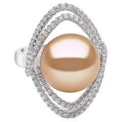 Yoko London Golden South Sea Pearl and Diamond Ring in 18K White Gold