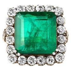 19.20 Carats Zambian Emerald 4.40 Ct's Diamonds Art Deco Style Solitaire Ring