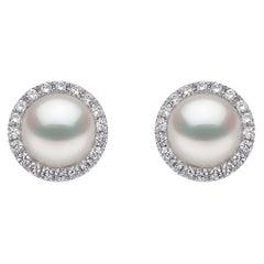 Yoko London Freshwater Pearl and Diamond Earrings in 18K White Gold