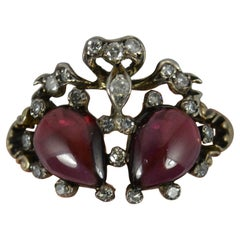 Victorian 15ct Gold Garnet Cabochon and Diamond Double Heart Cluster Ring
