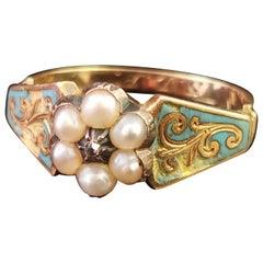 Antique Regency Mourning Ring, 18 Karat Gold, Blue Enamel, Pearl and Diamond