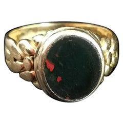 Antique 18k Gold Yellow Gold Bloodstone Signet Ring