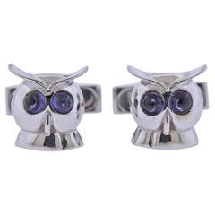 Bucherer Gold Sapphire Owl Cufflinks