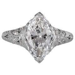 GIA Colorless 2.40ct Antique Marquise Diamond Edwardian Engagement Platinum Ring