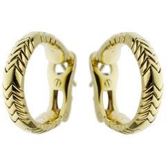 Bvlgari Spiga Vintage Yellow Gold Hoop Earrings