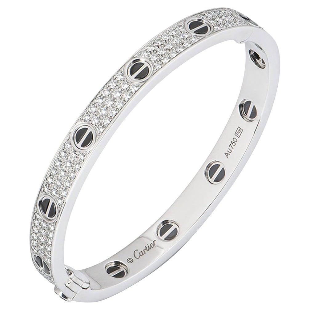 Cartier White Gold Pave Diamond & Ceramic Love Bracelet N6032420
