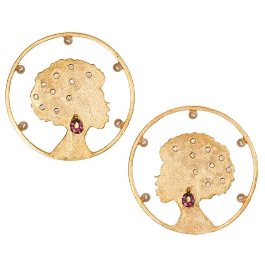 Ammanii Hoop Earrings with Freshwater Pearls in Vermeil Gold