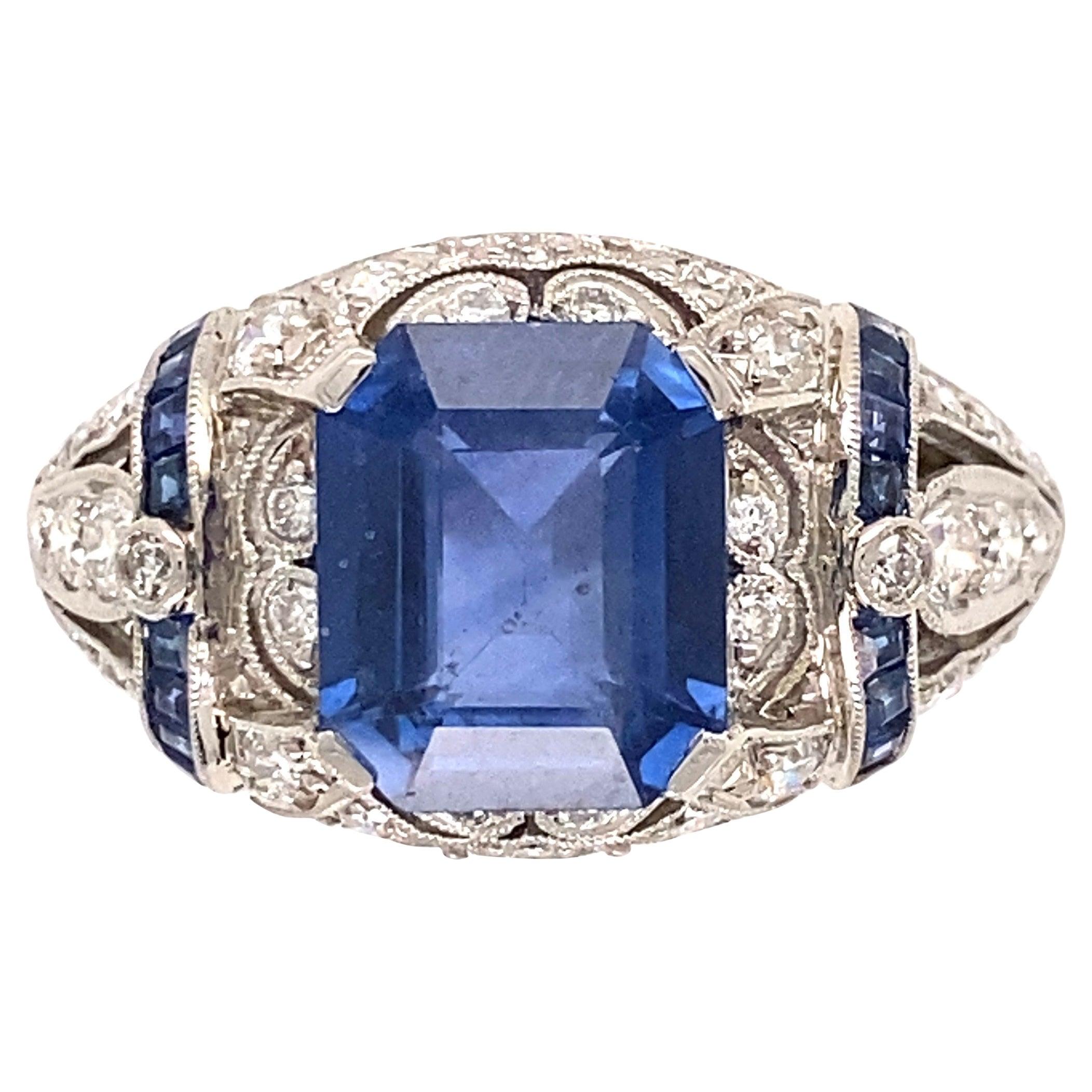 2.87 Carat Emerald Cut Sapphire Diamonds and Sapphires Platinum Ring