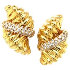 Tiffany & Co. Yellow Gold Diamond Clip On Earring