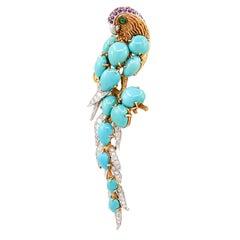 Cartier Turquoise, Diamond, Emerald Bird Brooch