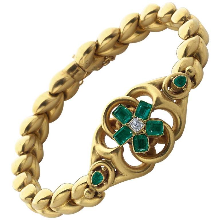 Emerald Diamond Gold Bracelet For Sale