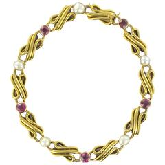Splendid Antique Fine Pearl Ruby Gold Row Bracelet