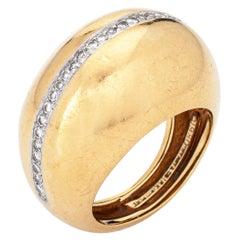 1980 Tiffany & Co Diamond Dome Ring Paloma Picasso Vintage 18k Gold Platinum 5