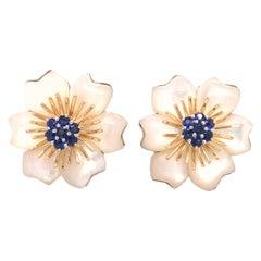 18K Kanaris Sapphire Flower Earrings Two-Tone Gold