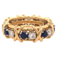 Tiffany & Co. Schlumberger Diamond Sapphire Eternity Band 18K Yellow Gold Plat