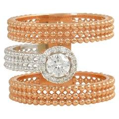Round Diamond 18 Karat Gold Double Band Beaded Ring