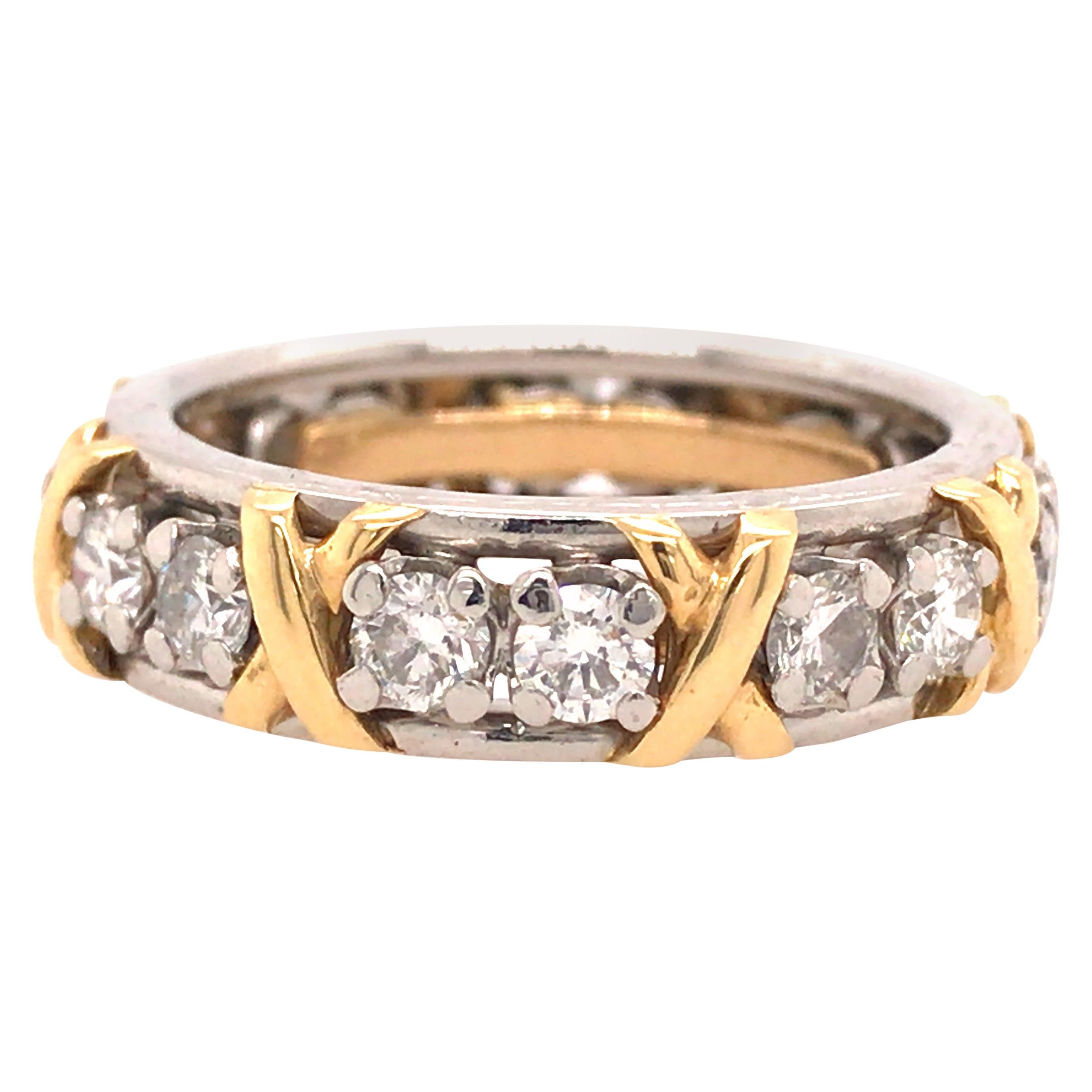 Tiffany & Co. Schlumberger 16 Diamond Eternity Band in 18K Yellow Gold Platinum