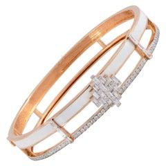 White Enamel 18 Karat Rose Gold Art Deco Style Diamond Bangle Bracelet