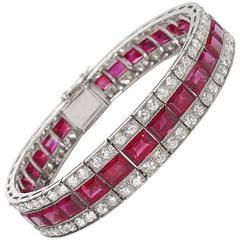 Art Deco Ruby Diamond Platinum Bracelet