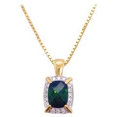 Tourmaline Diamond Necklace, Mixed Metal, Cushion Tourmaline and Diamond Halo
