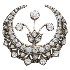 Diamond Crescent and Flower Brooch, Victorian, ca. 1880s