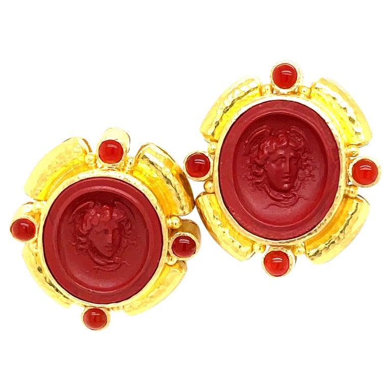 Elizabeth Locke Yellow Gold Carnelian Intagiio Earrings For Sale