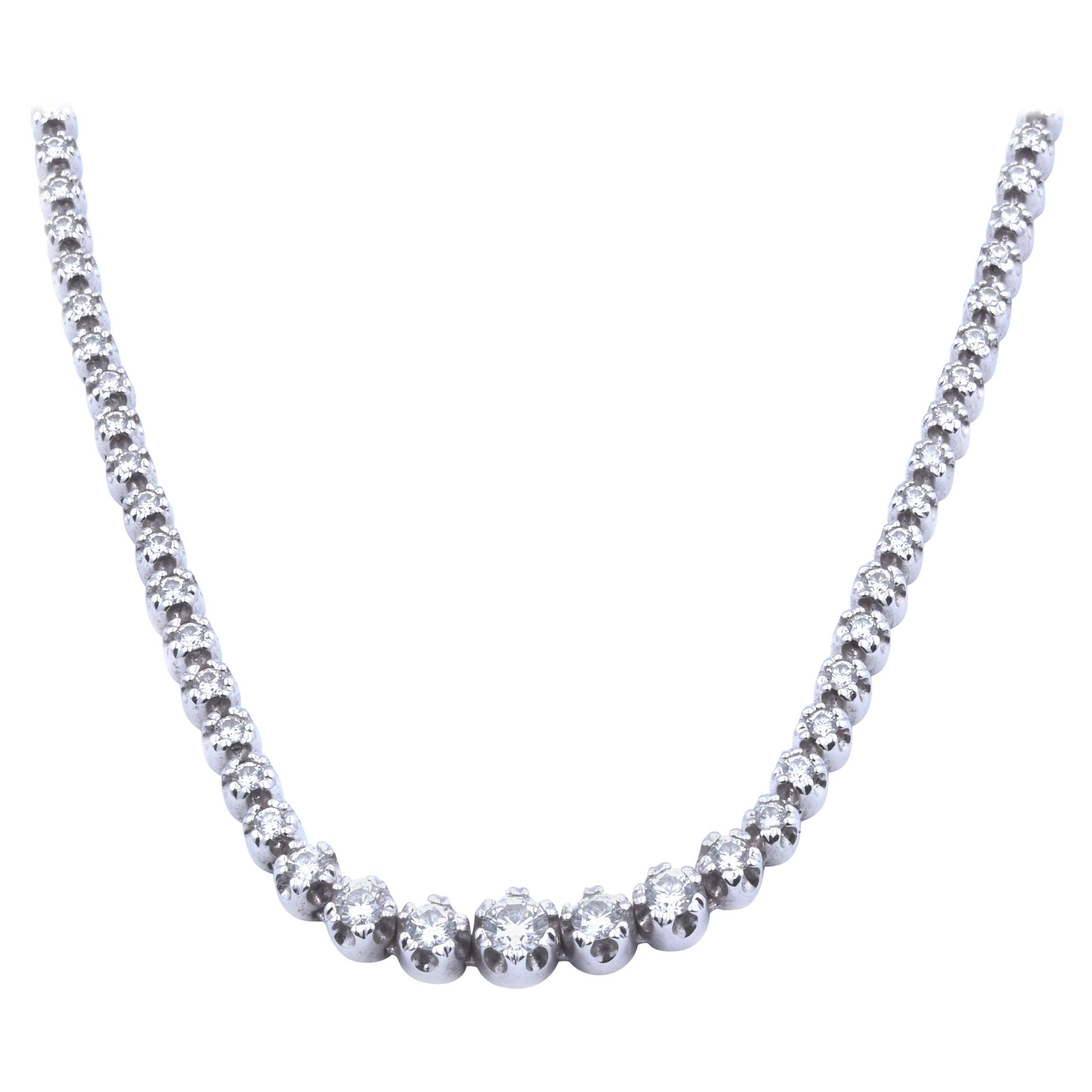 18 Karat White Gold Diamond Inline Tennis Necklace