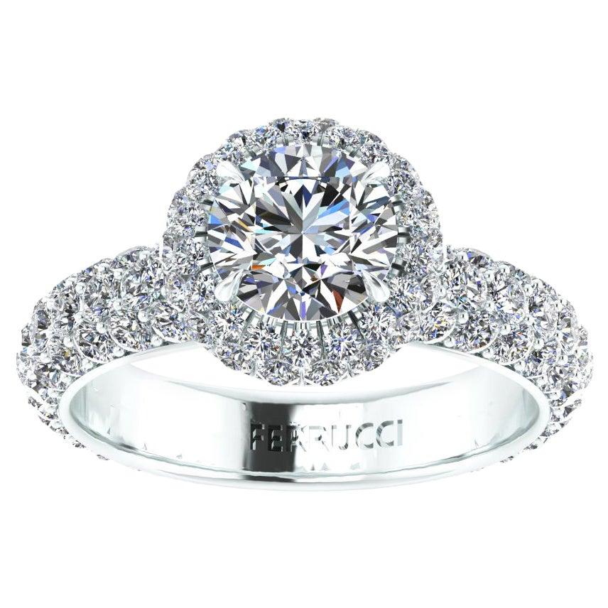 3.49 Ct GIA Certified Round Diamond Round Halo Triple Pave Shank Platinum Ring