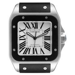 Cartier Santos 100 Steel Black Rubber Strap Mens Watch W20121U2