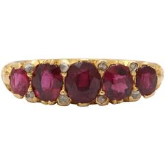 Victorian Ruby, Diamond Band Ring