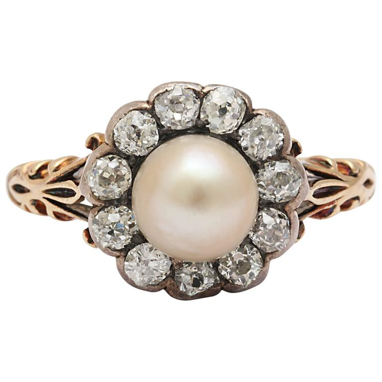 Late Victorian Pearl, Diamond Cluster Ring 1