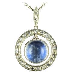 French Art Deco Moonstone Rose Cut Diamond Gold Pendant
