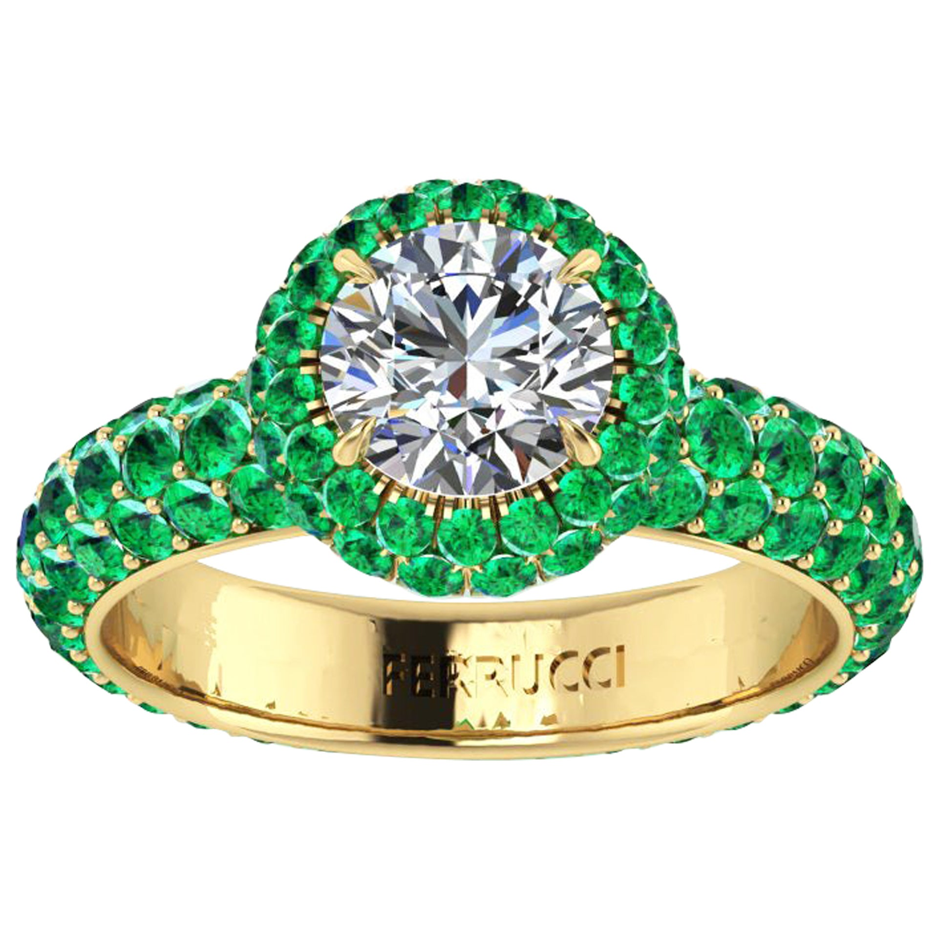 1.06 Ct GIA Certified Round Diamond Round Emerald Halo &Pave Shank 18k Gold Ring
