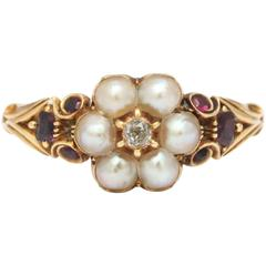 Victorian Natural Pearl Garnet Diamond Gold Scrolled Shank Ring