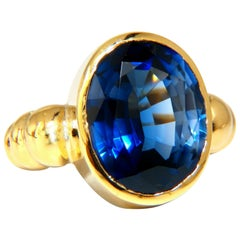 10ct Lab Sapphire Solitaire Ring 18kt